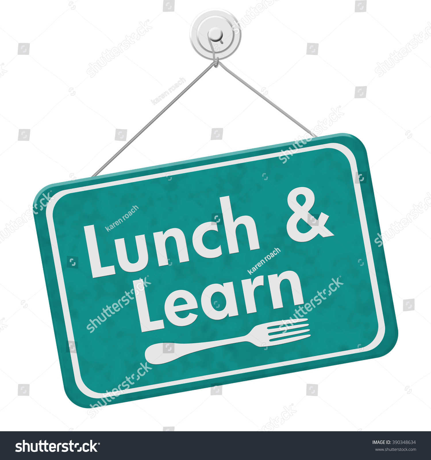 Lunch Learn Sign Teal Hanging Sign Stock Illustration 390348634