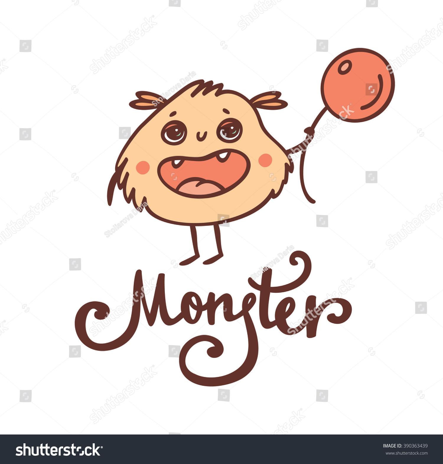 Cute Fluffy Monster Vector Stock Vector Royalty Free 390363439