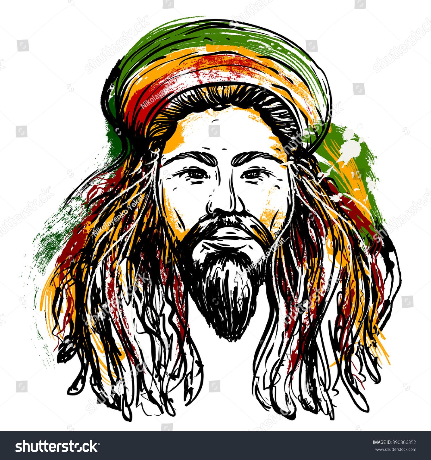 Design t shirt reggae - Portrait Of Rastaman Jamaica Theme Reggae Concept Design Tattoo Art Hand Drawn