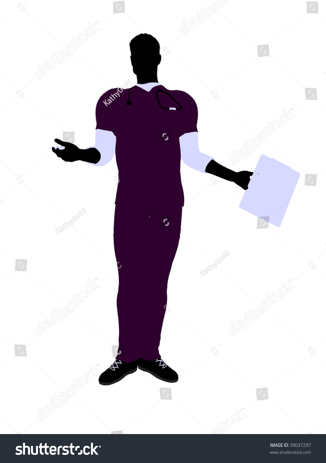 Male Doctor Silhouette Illustration On A White Background ...