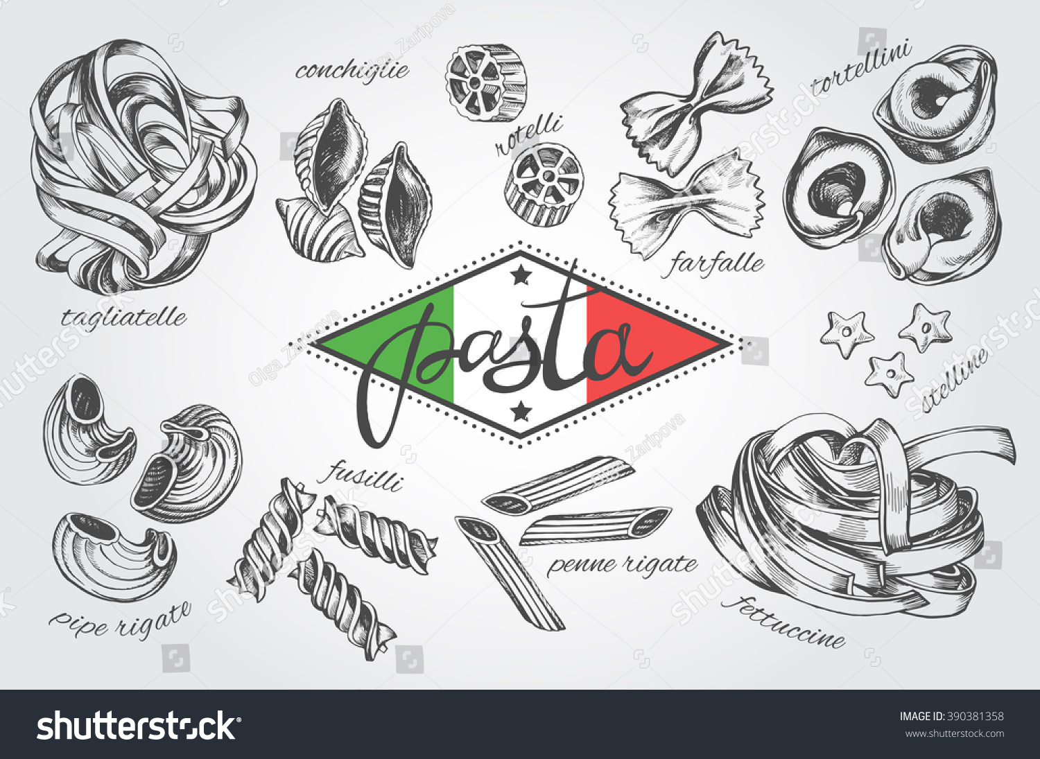 different types authentic italian pasta hand stock vector 390381358 shutterstock. Black Bedroom Furniture Sets. Home Design Ideas