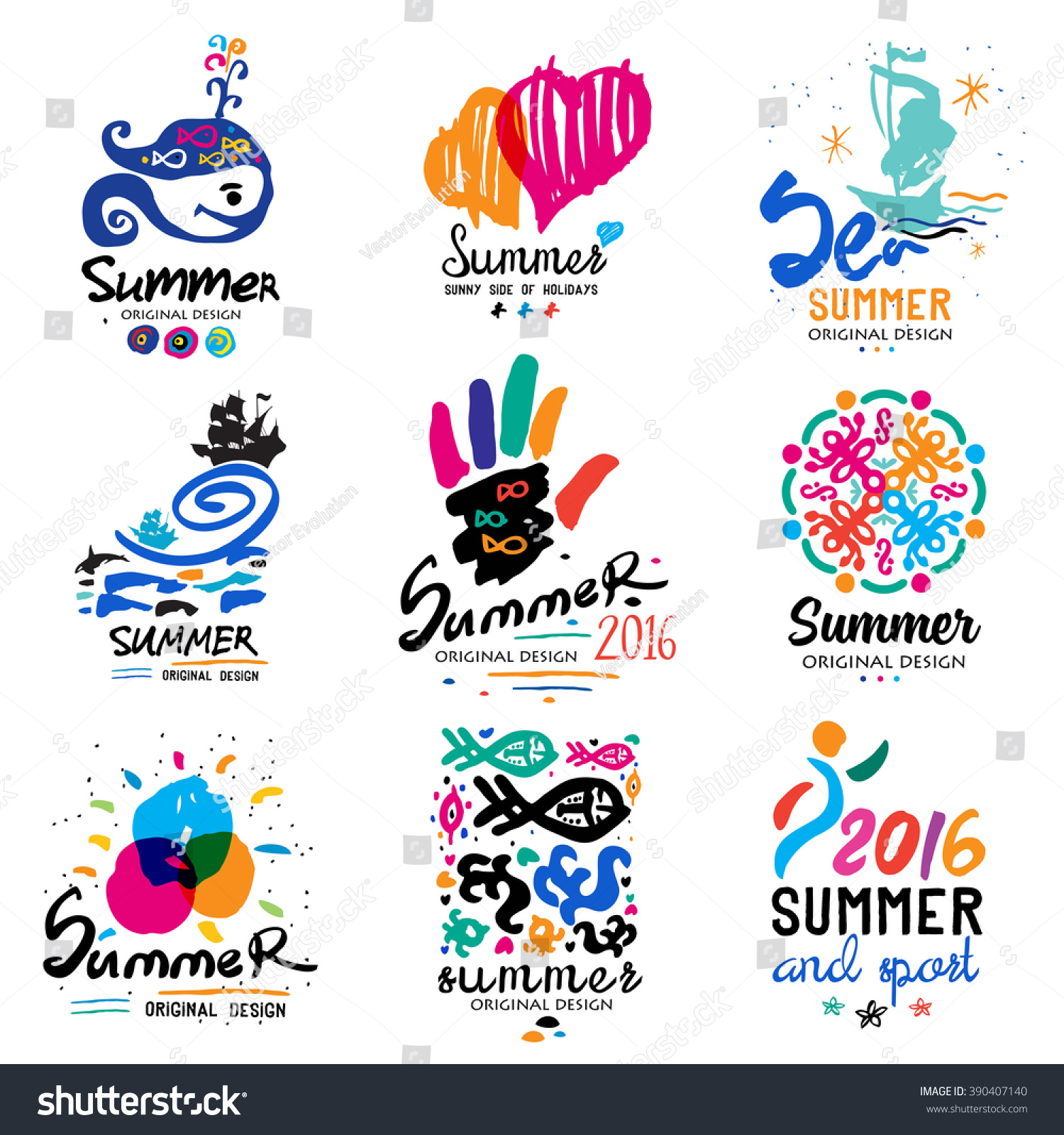 Summer Vacation Logo Tropical Paradise Weekend Tour Beach Design Elements Adventure