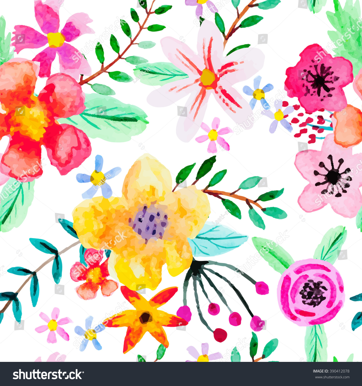seamless pattern abstract watercolor flowers red stock