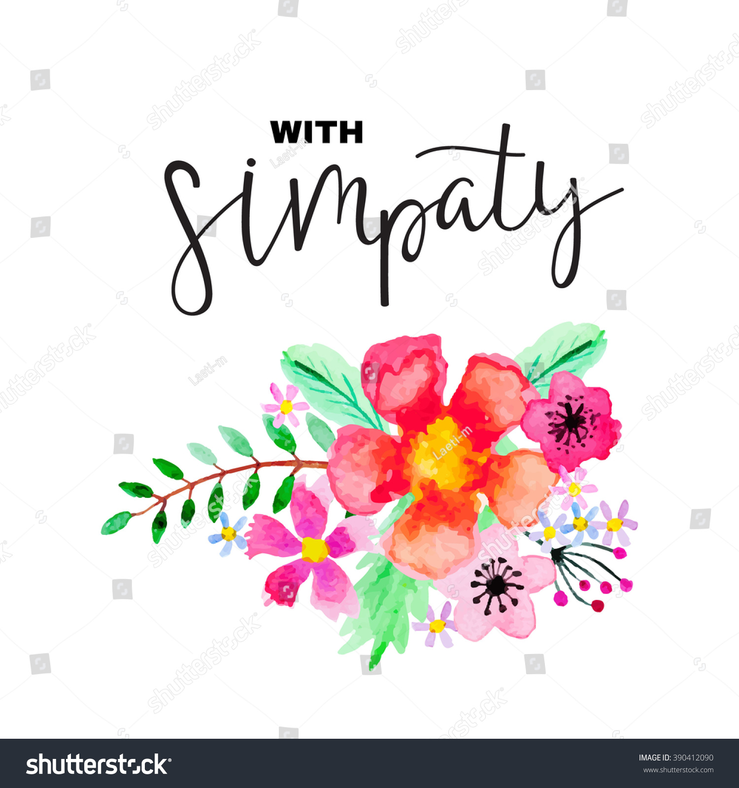 Greeting card floral ornament lettering with stock vector 390412090 greeting card with floral ornament and lettering with sympathy cute bright background with kristyandbryce Images