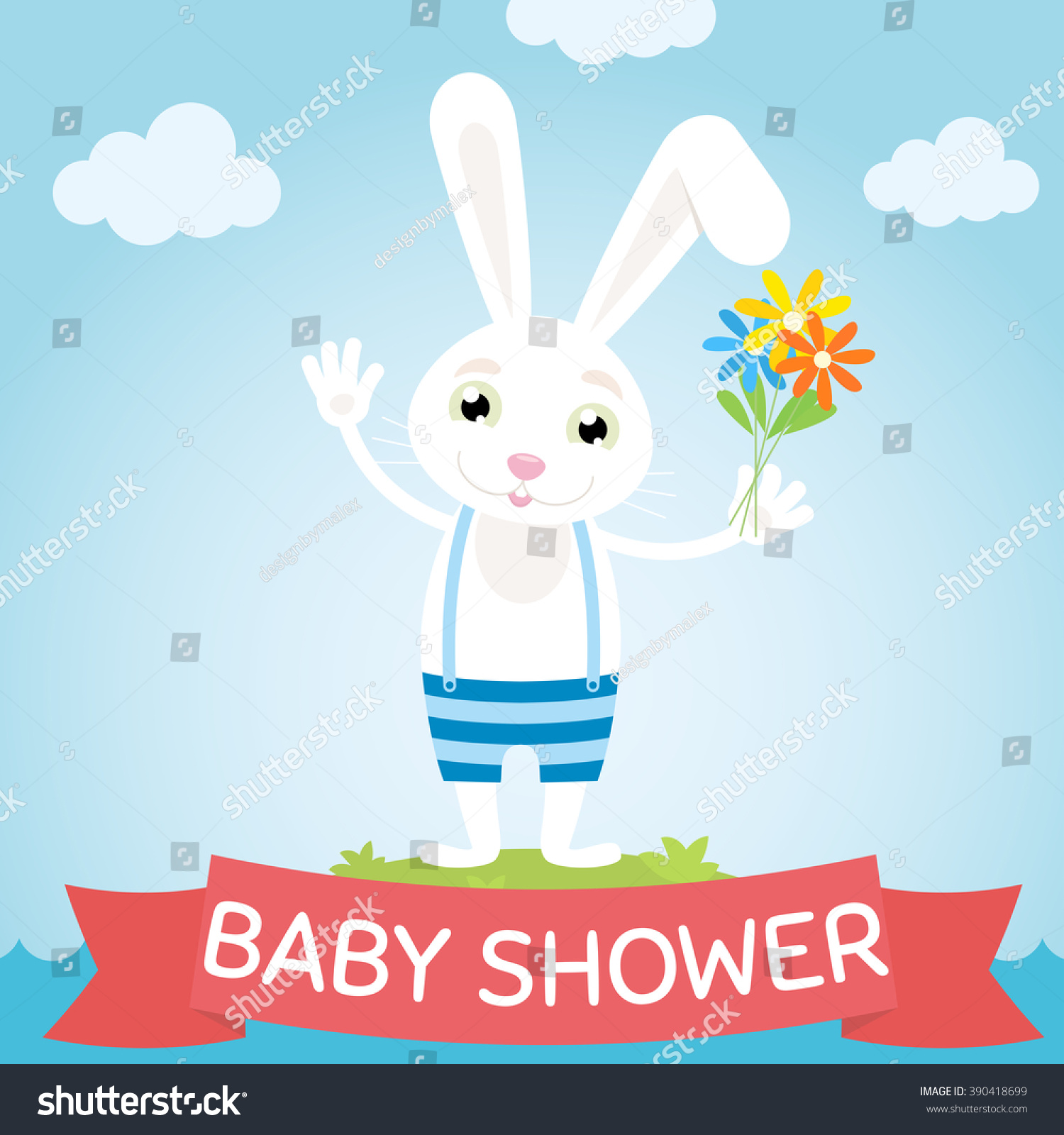 Baby Shower Baby Showers Card Cute Stock Vector