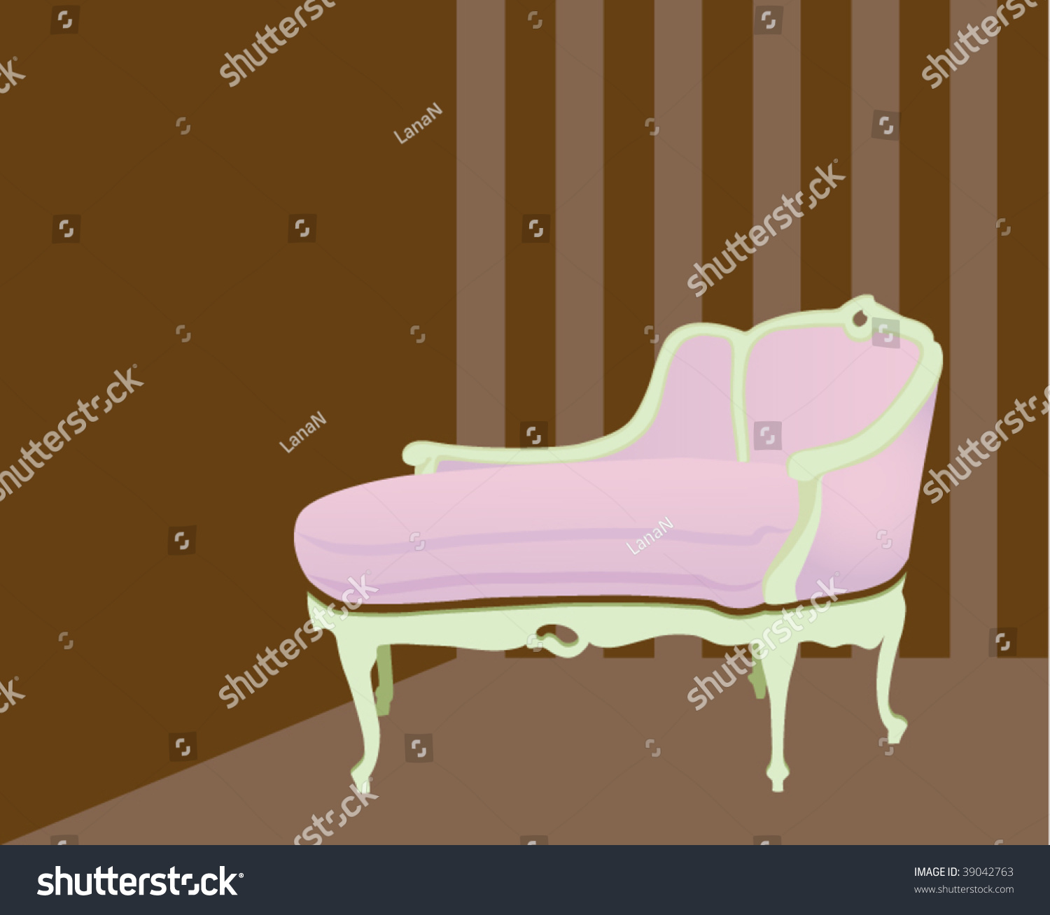 Pink Chaise Lounge Stock Vector Illustration Shutterstock