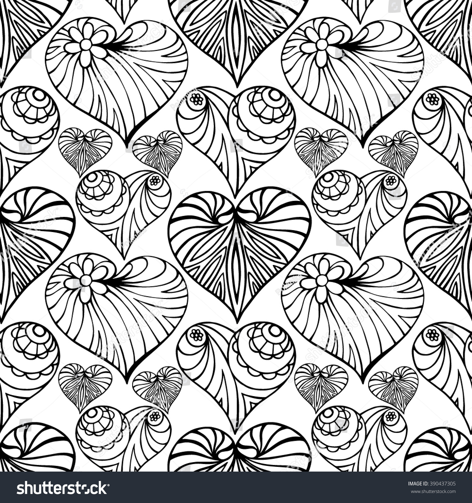 Hand Drawn Zentangle Heart. Seamless Pattern For Adult Coloring Pages, Card  For St.