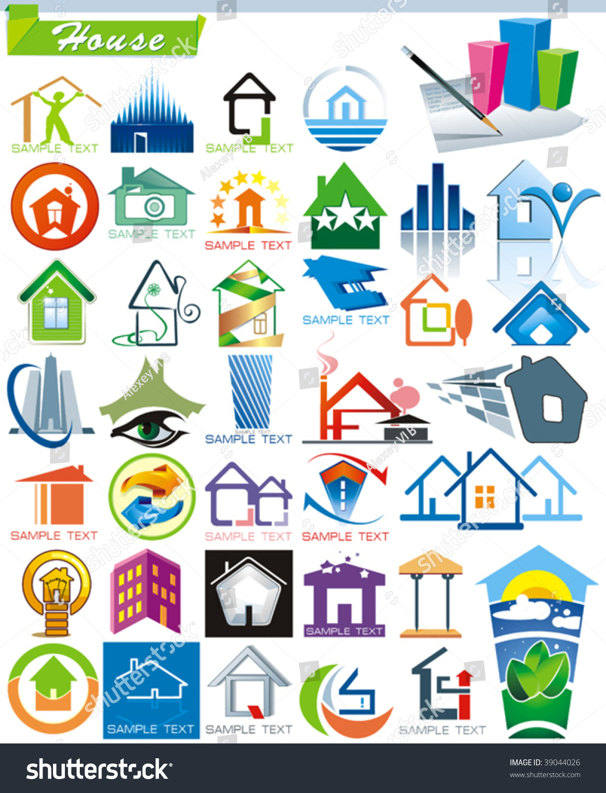 Collection 5 exclusive series house vector icons stock for House construction companies