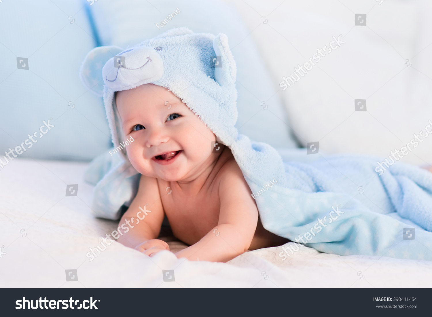 Baby Boy Wearing Diaper Blue Towel Stock Photo 390441454 ...