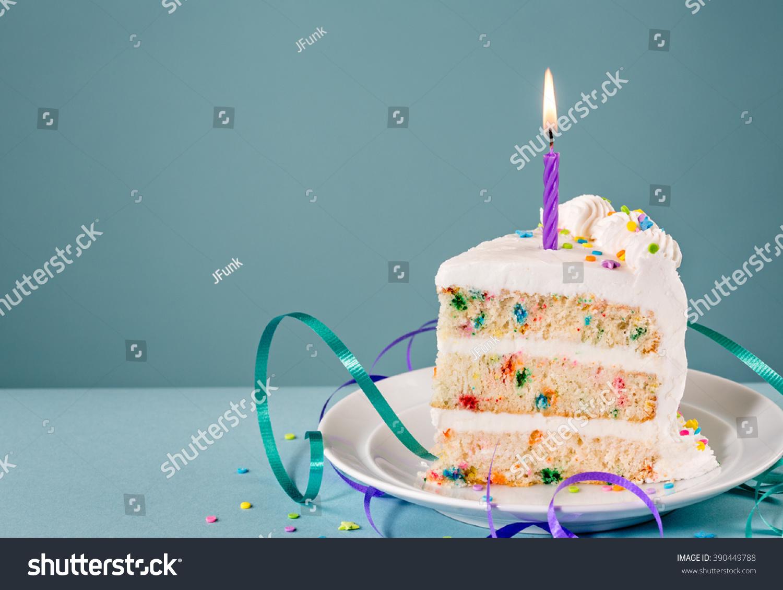 Slice Birthday Cake Lit Candle Ribbons Stock Photo Edit Now