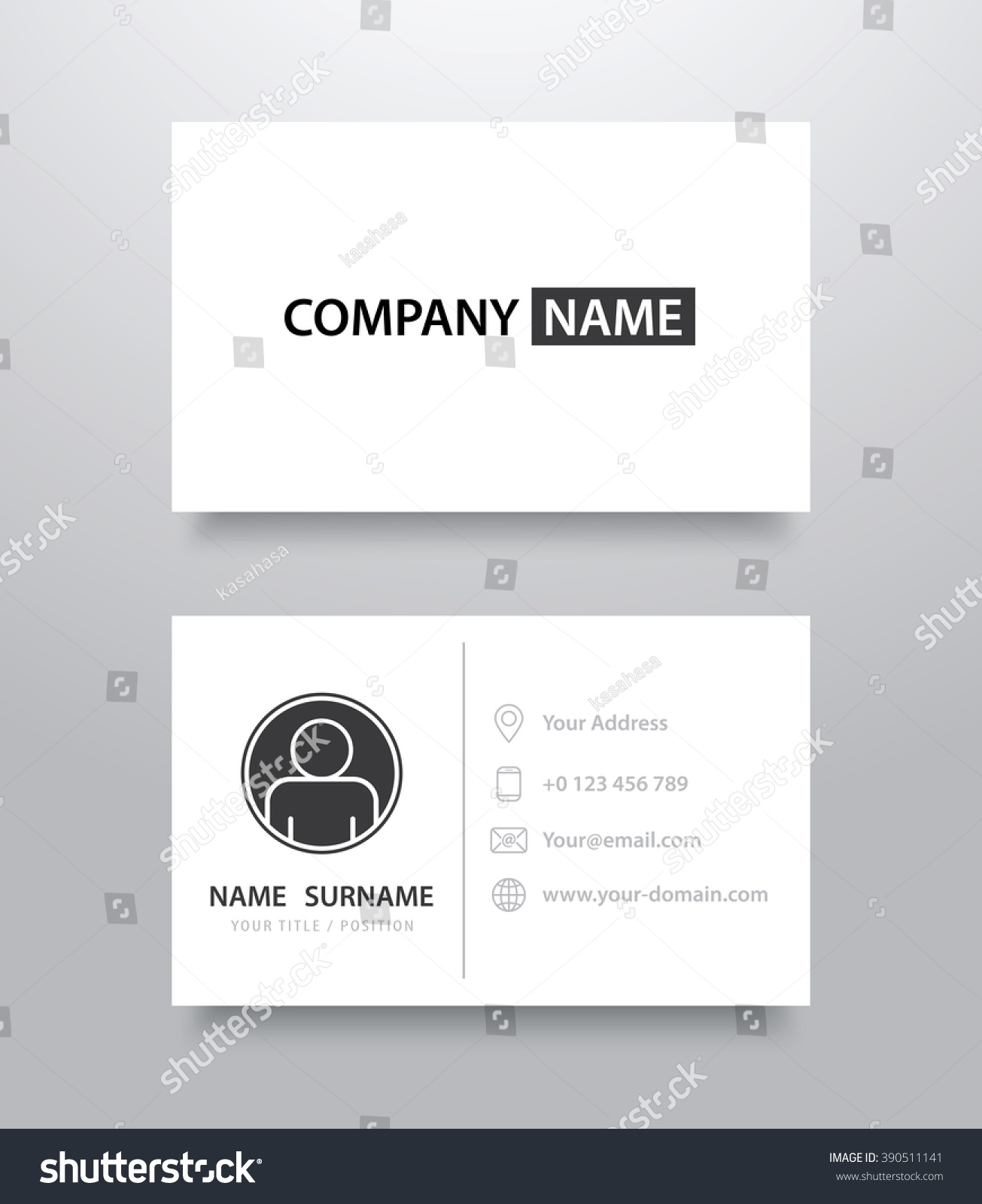 business card mockup template with shadow vector illustration
