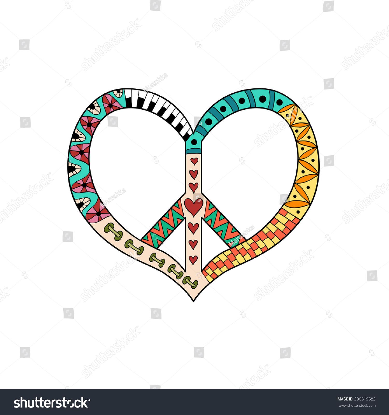Hippie Vintage Peace Symbol Zentangle Style Stock Vector Royalty