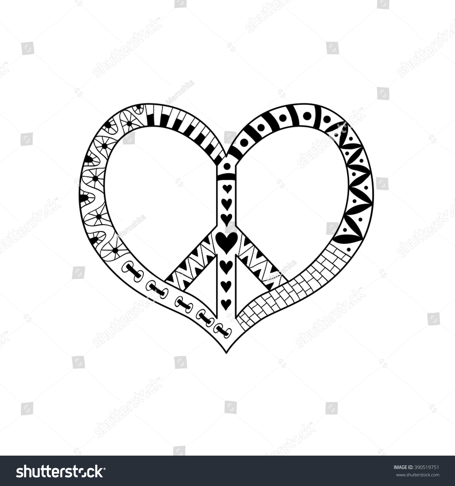 hippie vintage peace symbol zentangle style stock vector 390519751