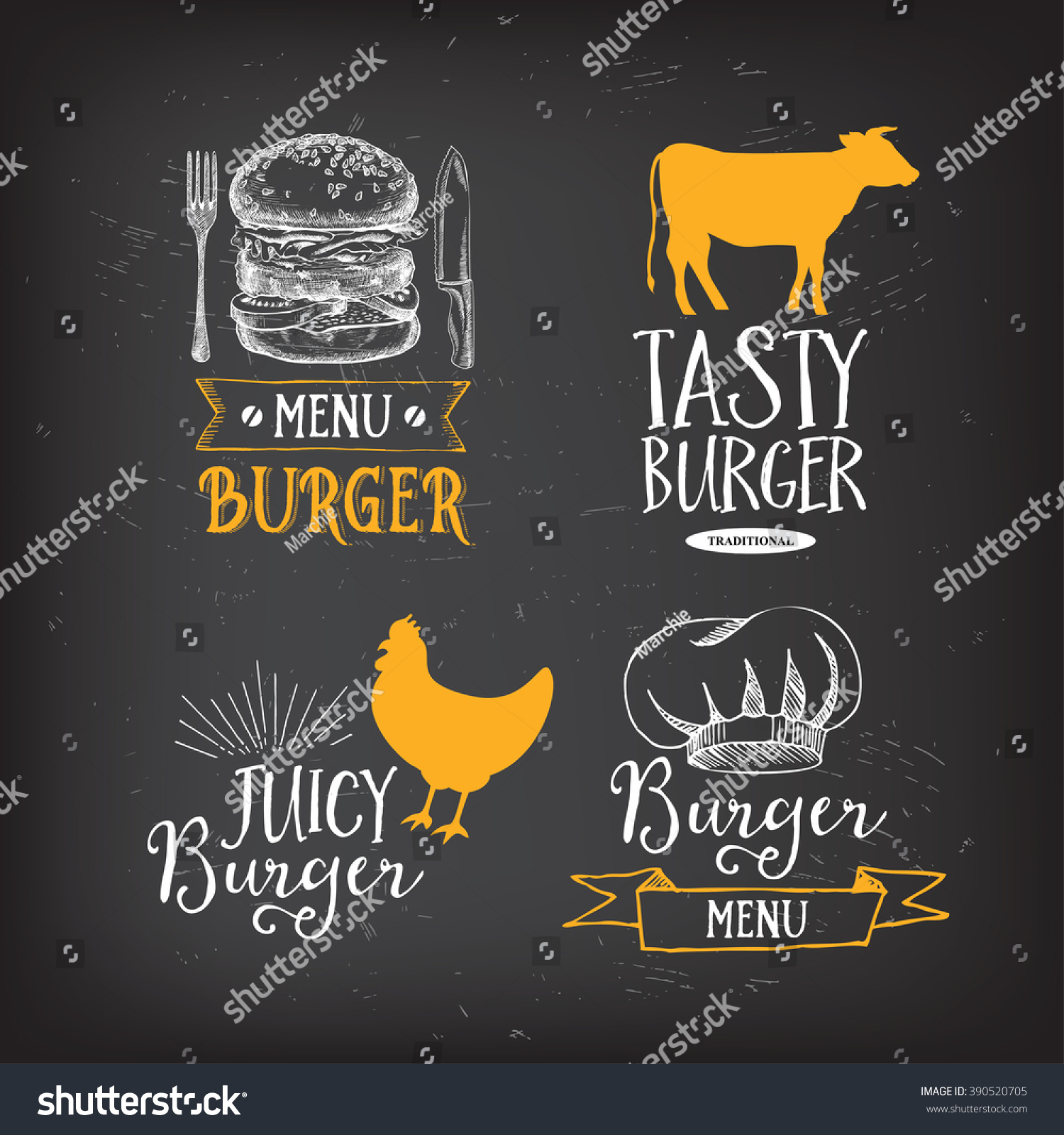 Burger menu restaurant badges Food design icons with hand-drawing elements Graphic labels for fast food restaurant template