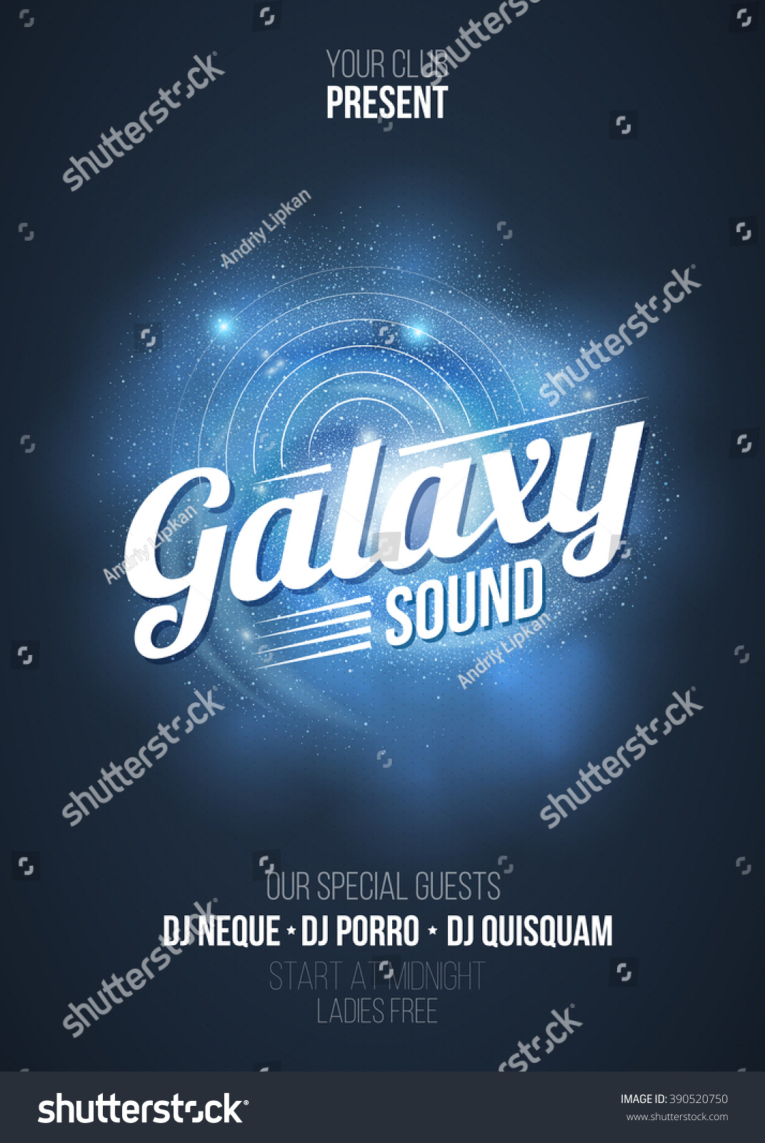 Party Flyer Background Galaxy Sound Party Stock Vector 390520750 ...
