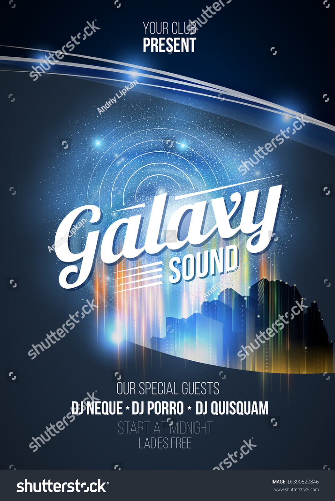 Party Poster Flyer Background Galaxy Sound Stock Vector 390520846 ...