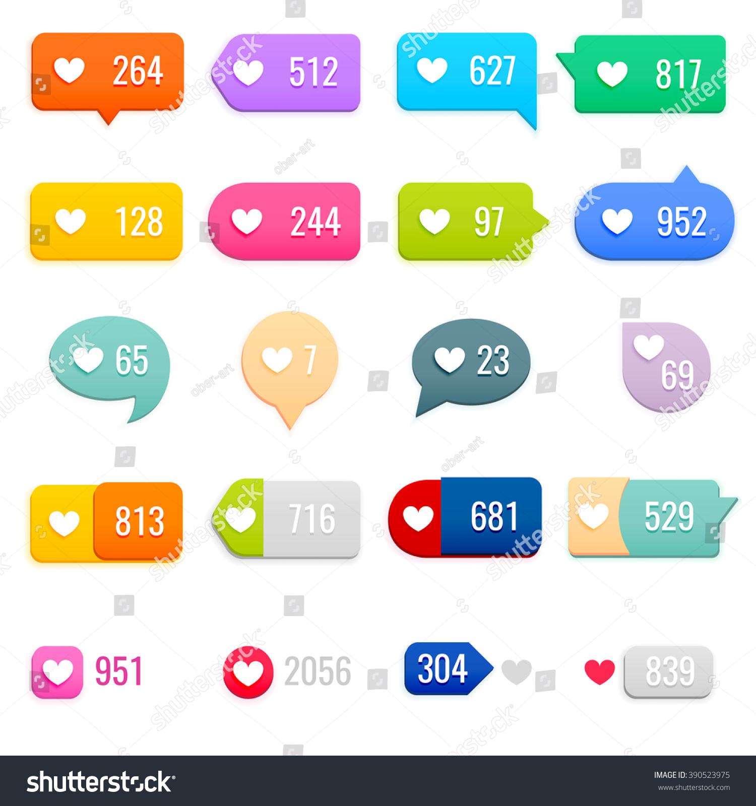 Set like counter notification icons on stock vector 390523975 set of like counter notification icons on ribbons and labels vector illustration biocorpaavc