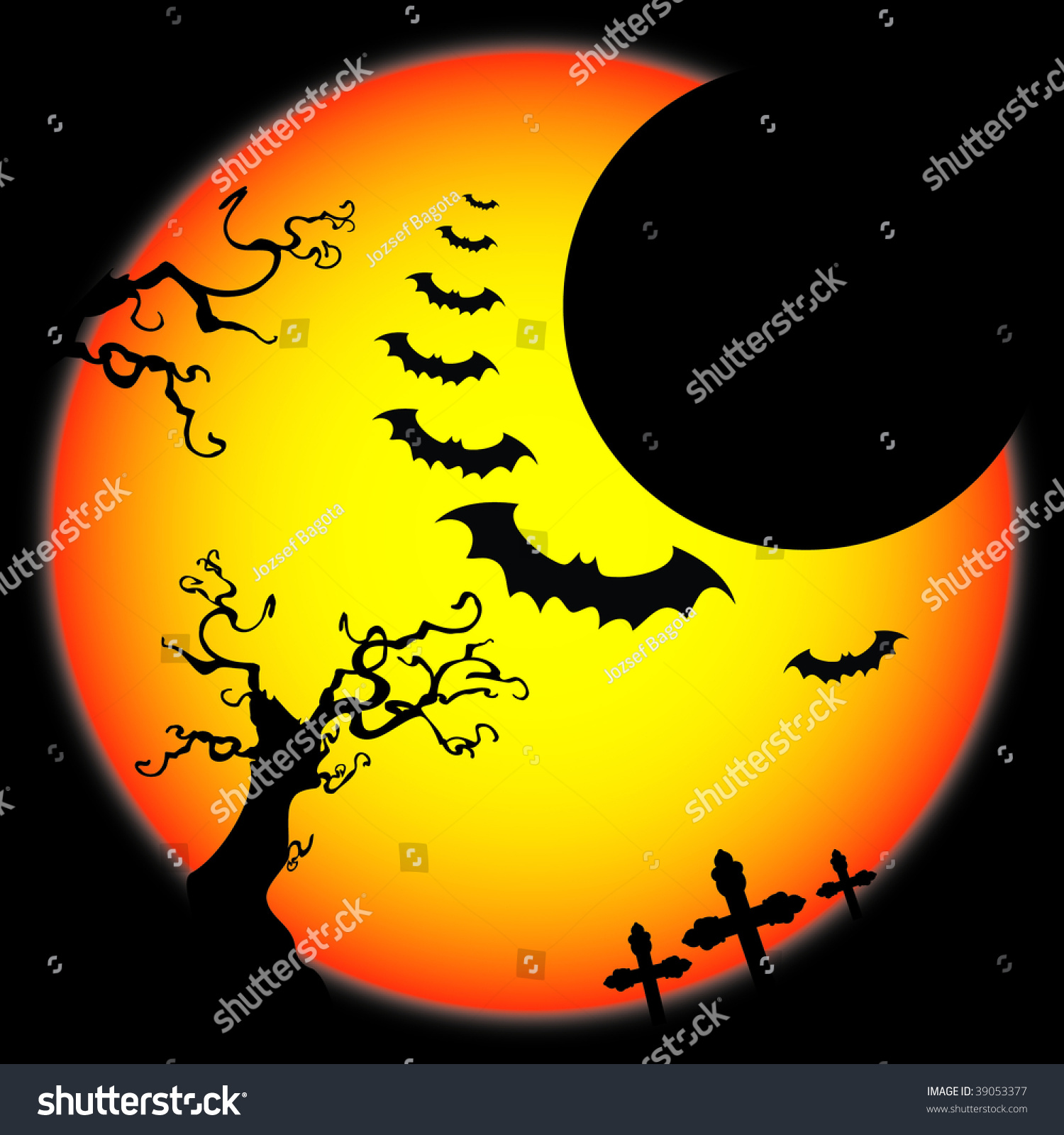 Halloween Background Template Scary Flying Bats Stock Vector ...