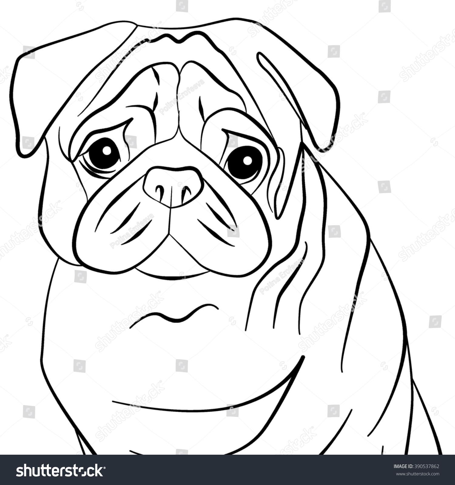 stylized dog pug black contours against stock illustration