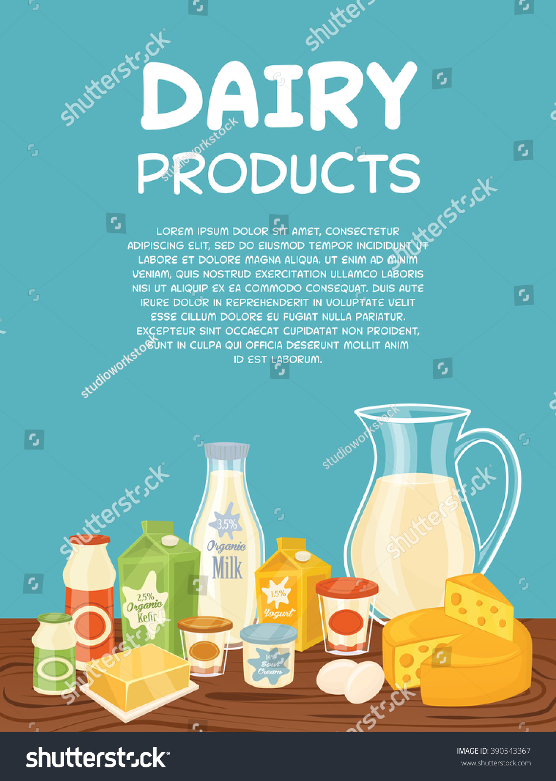 Dairy Products Poster Template Vector Illustration Stock Vector ...