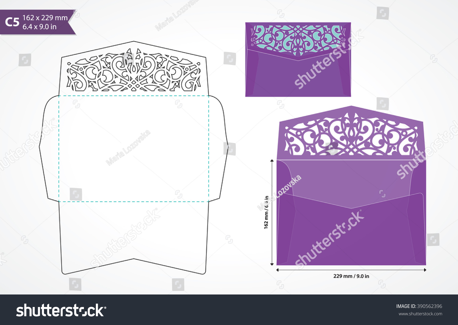 Standard C5 Size Envelope Template With Decorative Flap To Hold A5 Card Die Cut