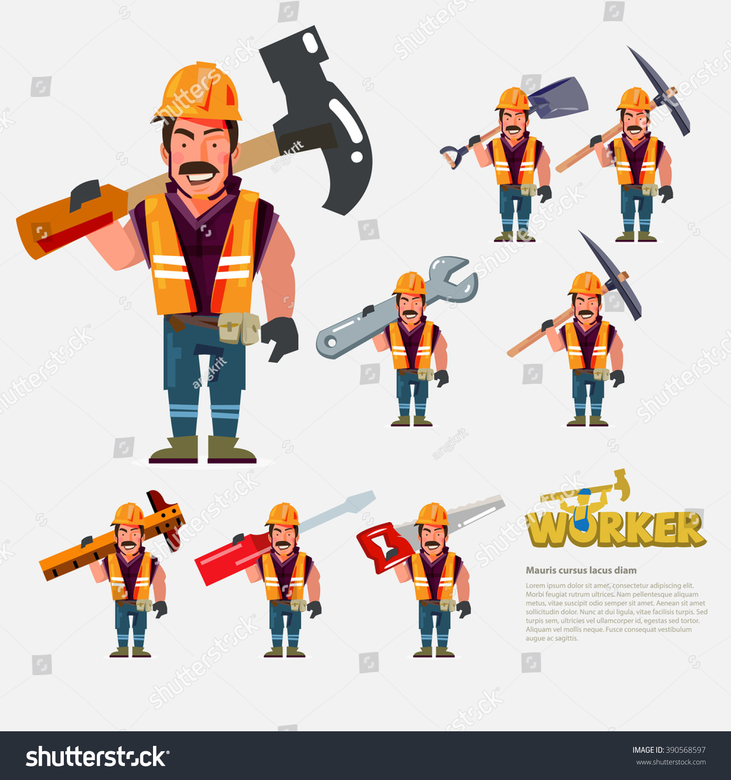 Character Design Tools : Professional worker carry work tools on stock vector