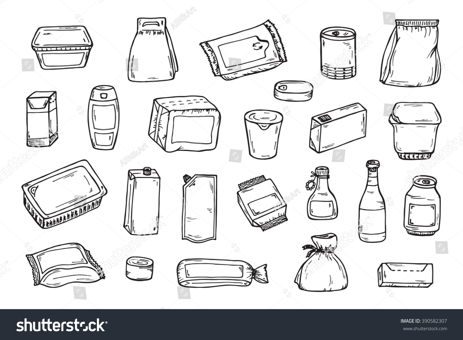 product packaging vector set mock template stock vector  mock up template food and drink packing hand drawn doodle