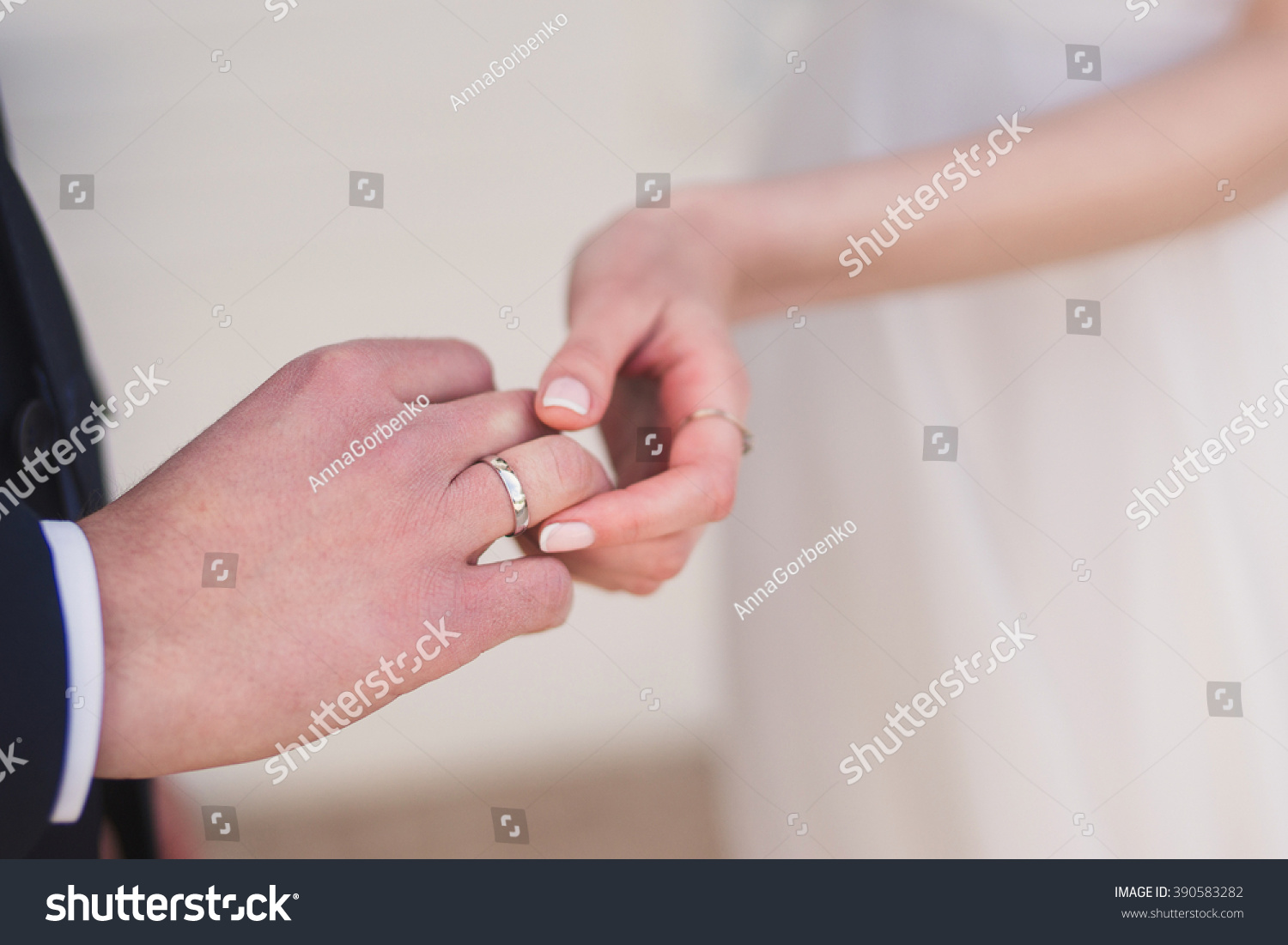 Closeup Bride Putting Wedding Ring Onto Stock Photo (Safe to Use ...