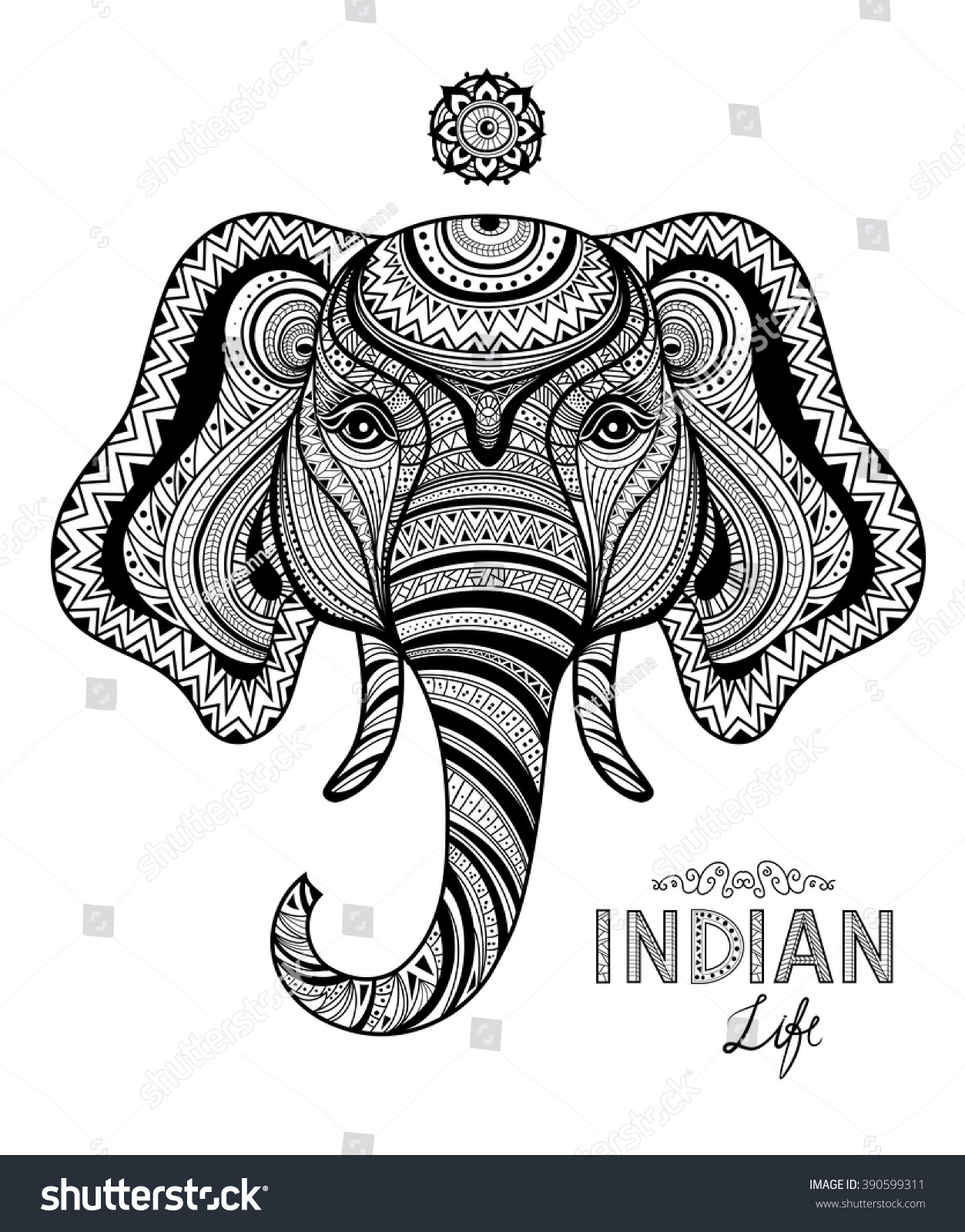 abstract indian life symbol elephant zentangle stock vector