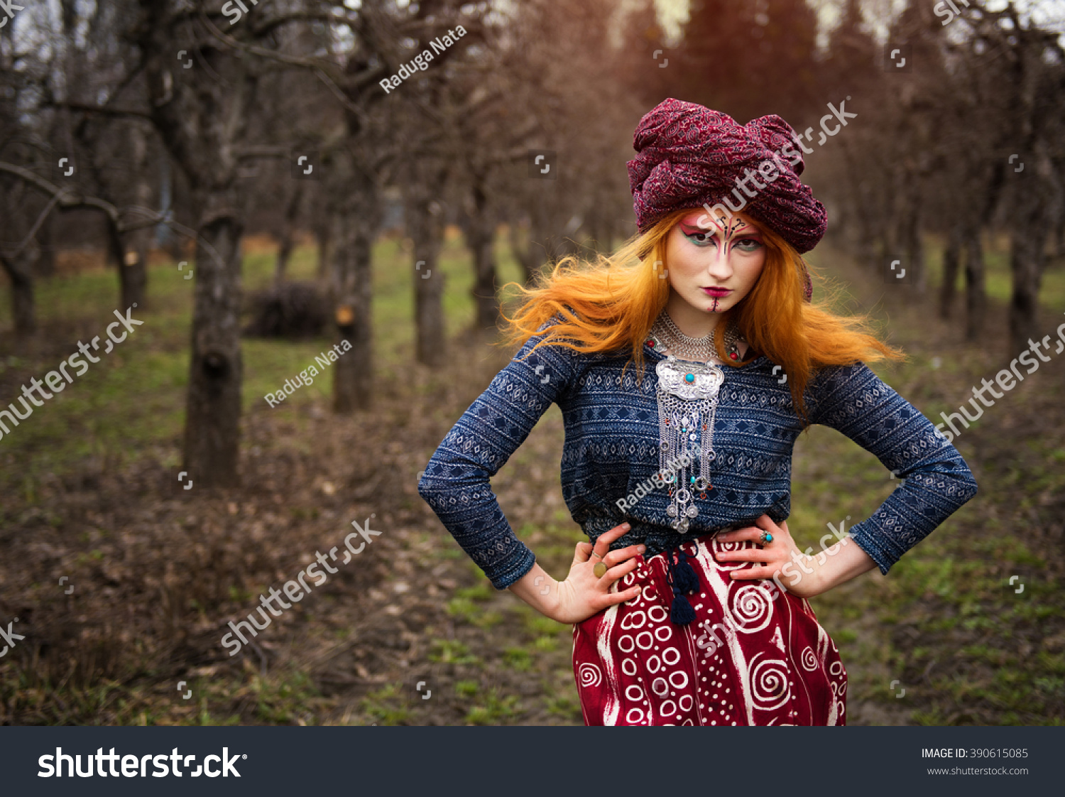 Bright Girl Red Hair Turban Poses Stock Photo (Edit Now) 390615085 ...