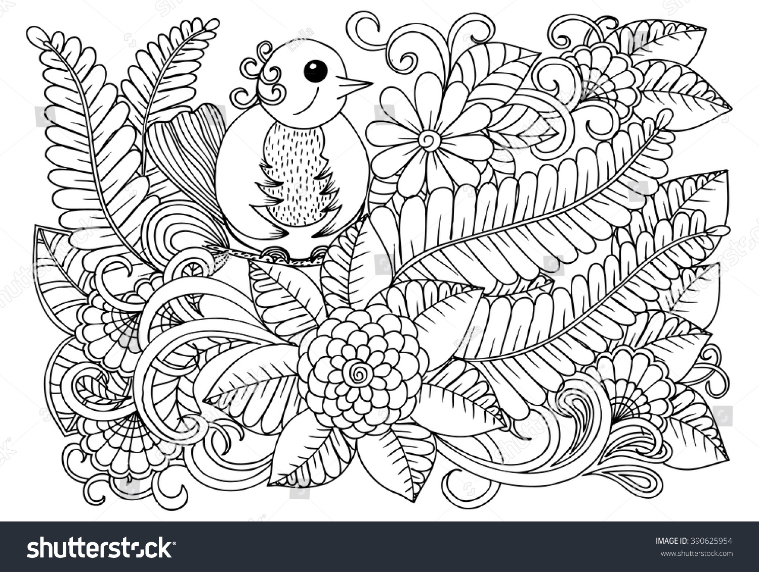 Bird On Doodle Flower Pattern Beautiful Floral Drawing In Black And White Adult Coloring Book