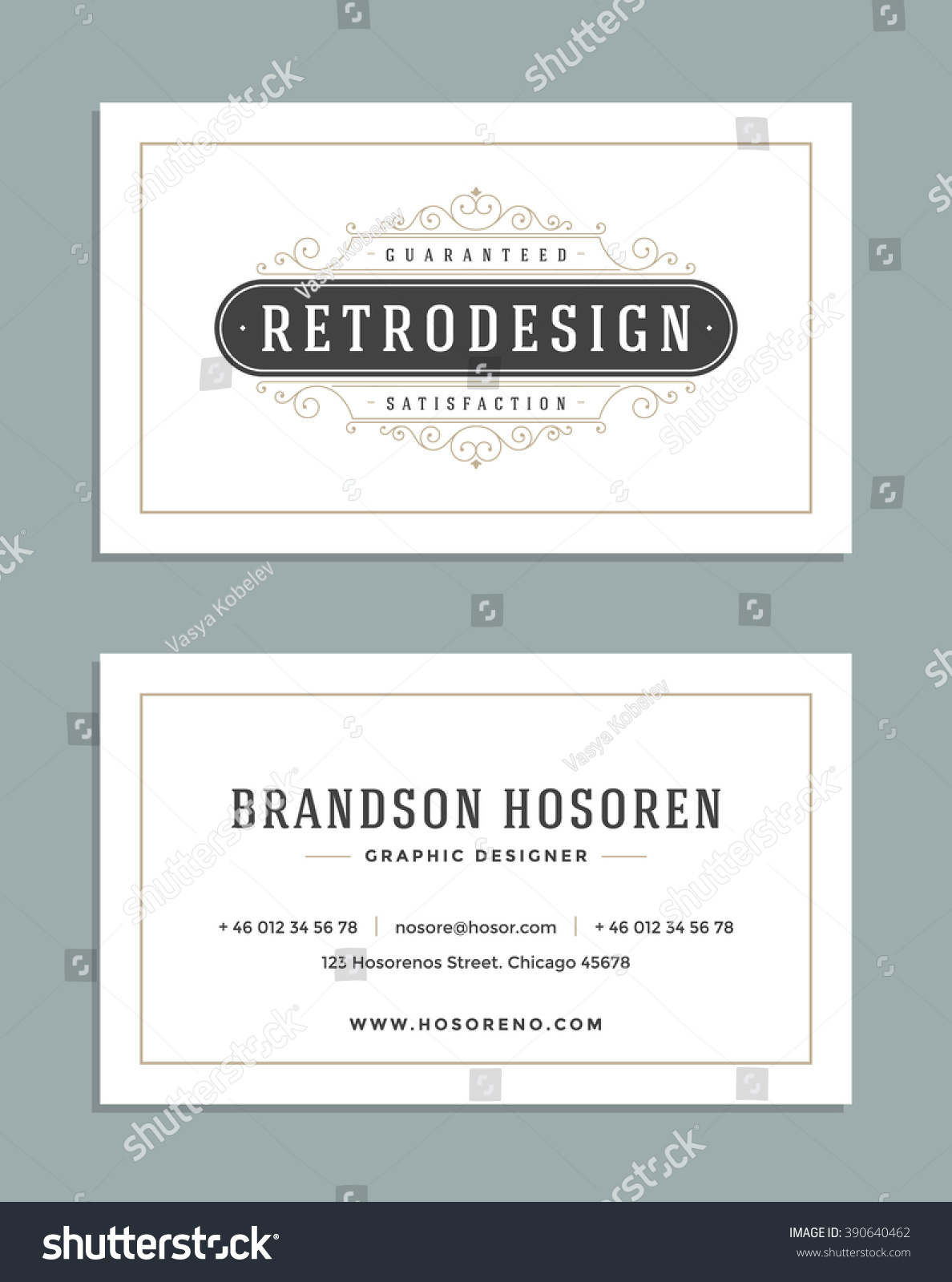 Vintage ornament business card vector template stock vector vintage ornament business card vector template retro luxury logo royal design flourishes frame magicingreecefo Gallery
