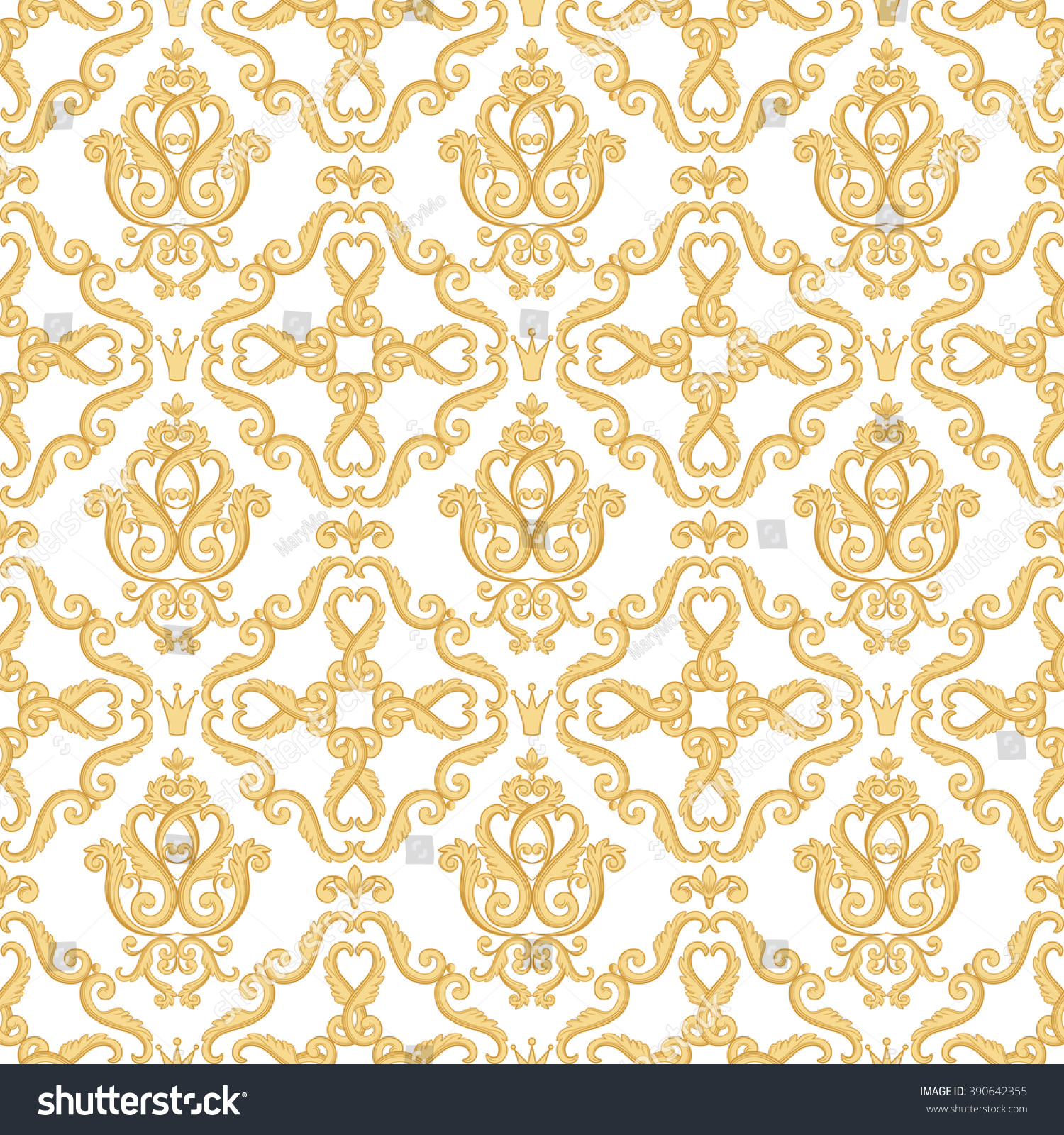 Seamless Damask Pattern Gold White Texture Stock Vector ...