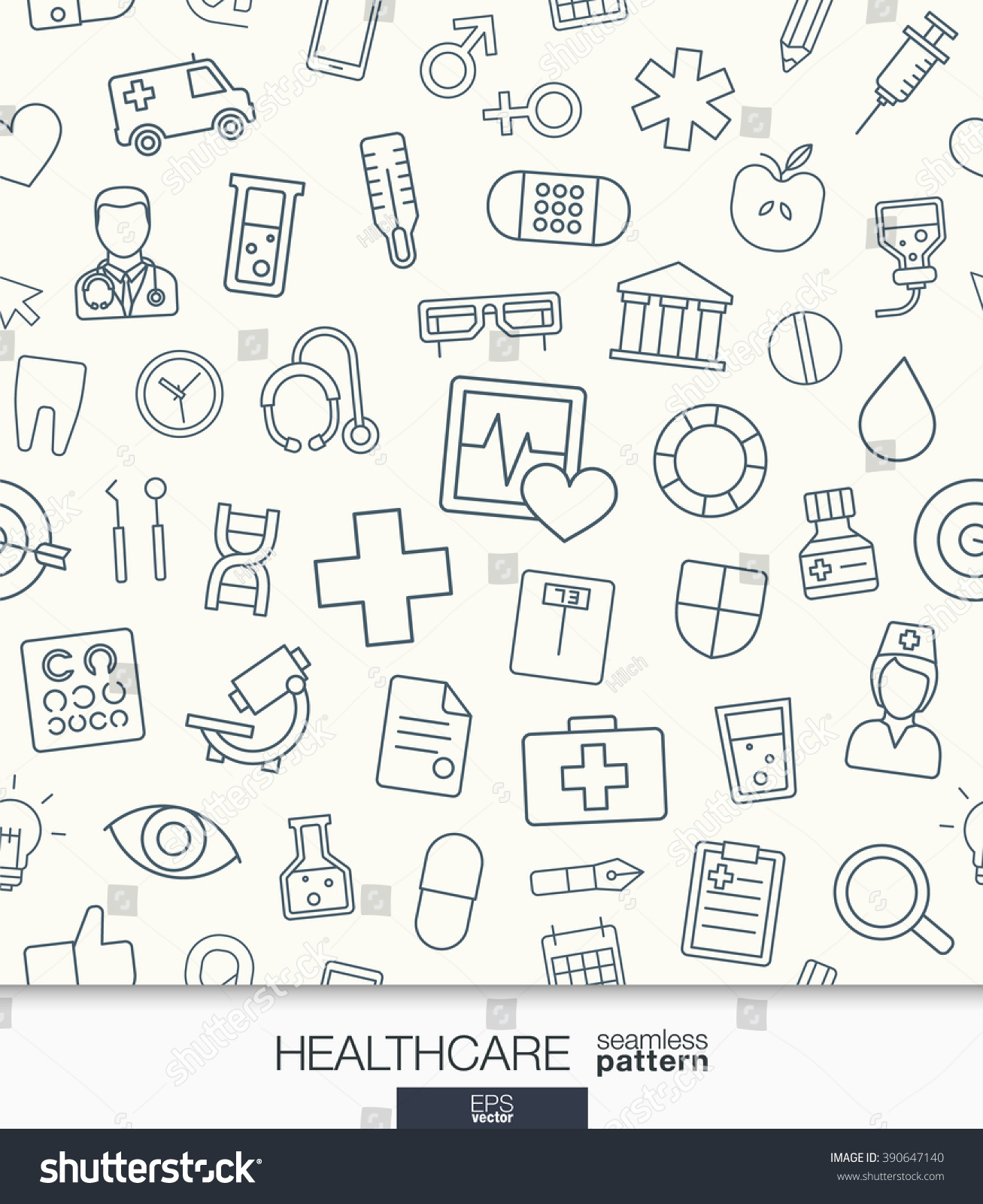 Healthcare Wallpaper Medical Seamless Pattern Tiling Stock Vector ...