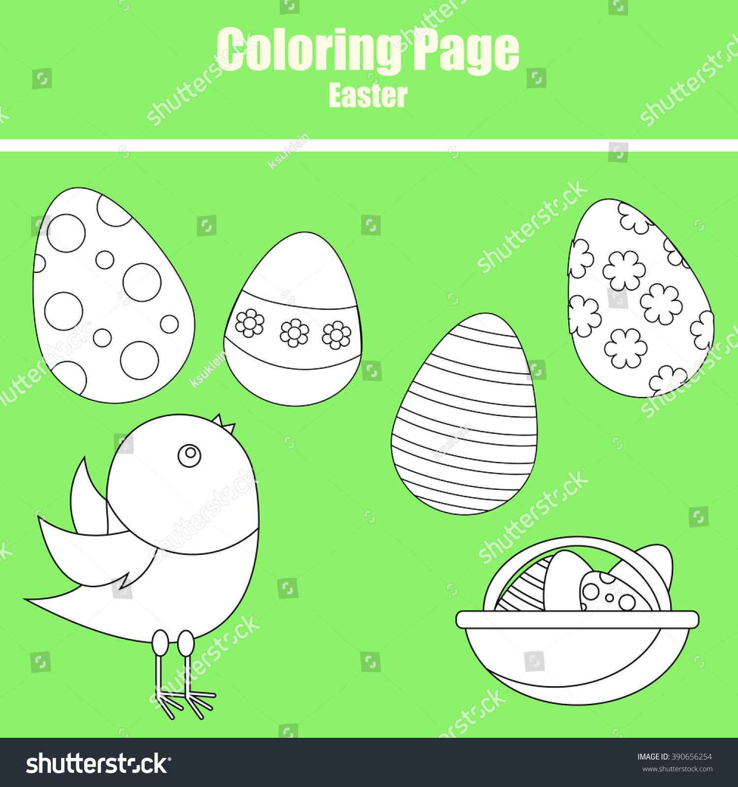Coloring Page Children Easter Scene Chicken Stock Vector HD (Royalty ...