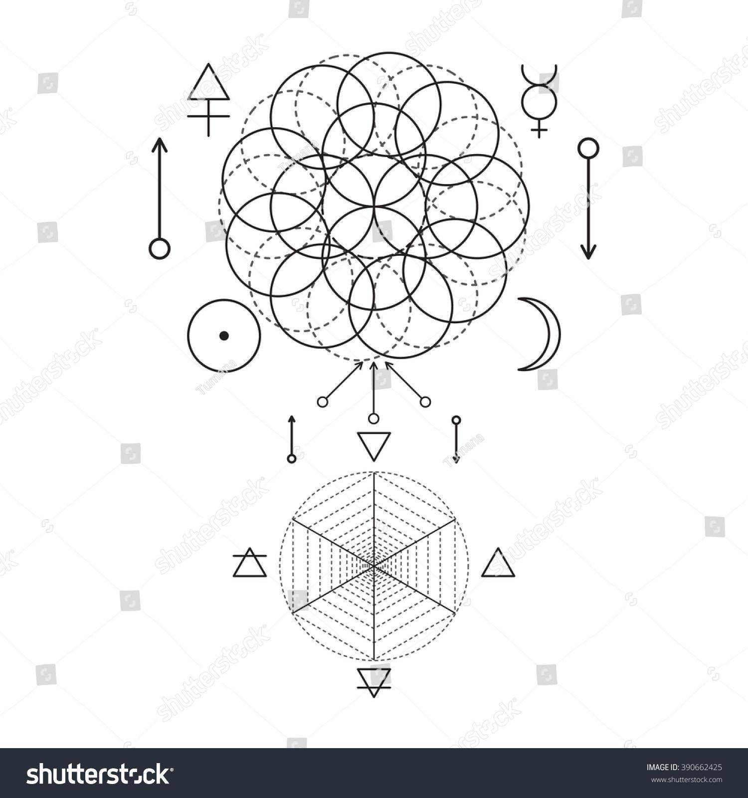 Symbol alchemy sacred geometry linear character stock vector symbol of alchemy and sacred geometry linear character illustration for lines tattoo on the white biocorpaavc