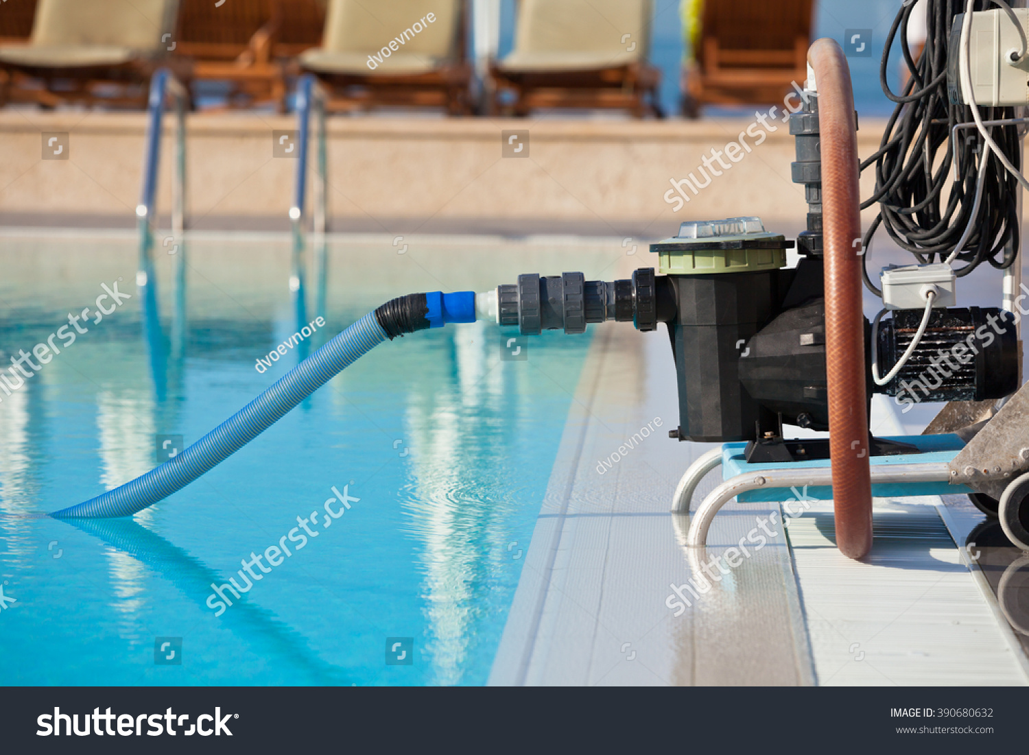 Cleaning Swimming Pool Pump : Cleaning pump working swimming pool horizontal stock photo