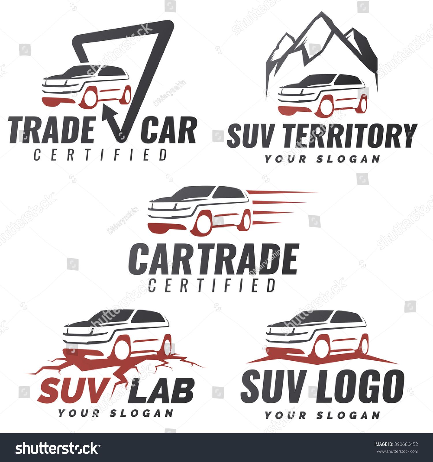Set crossover suv car service logo stock vector 390686452 for Car rental logo samples