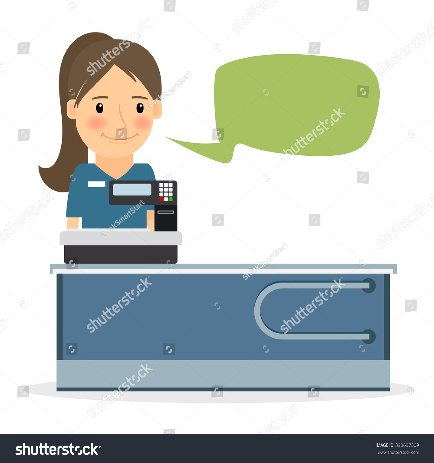 supermarket store cashier w s clerk stock vector  supermarket store cashier w or s clerk at store female cashier vector icon