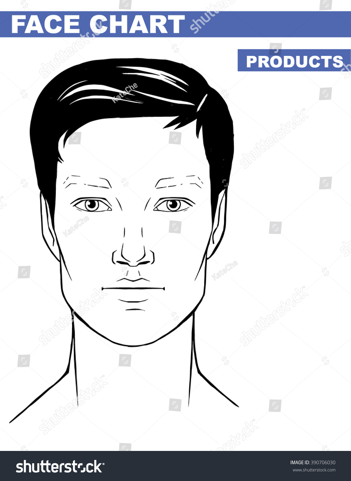 Male makeup face template