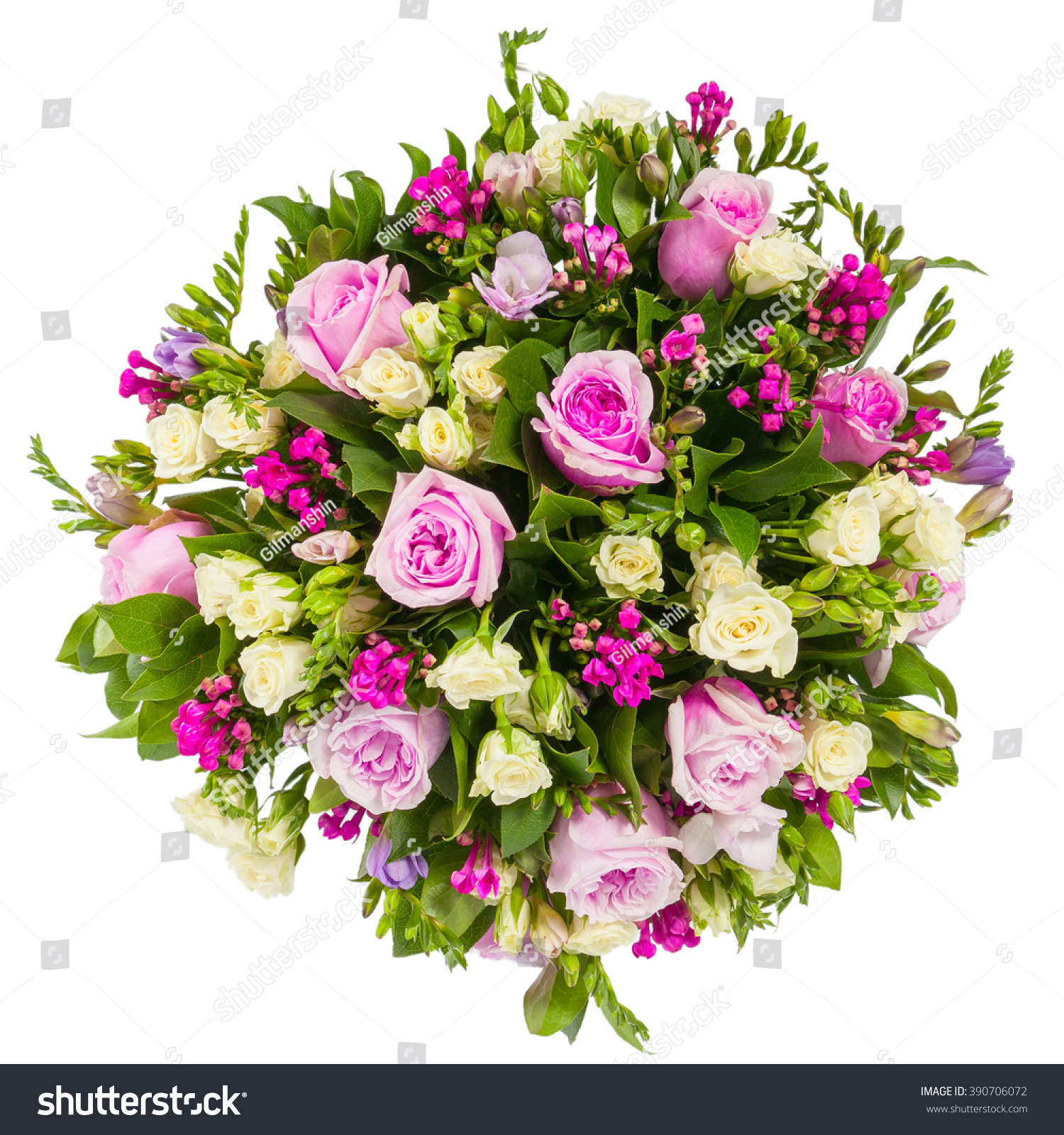Royalty Free Bouquet Of Flowers Top View Isolated On 390706072
