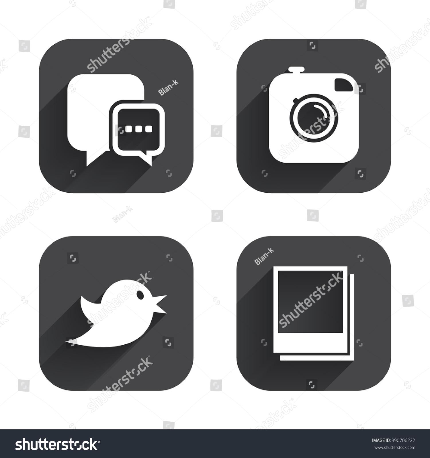 Social media icons chat speech bubble stock illustration 390706222 chat speech bubble symbol hipster photo camera sign empty photo buycottarizona Gallery