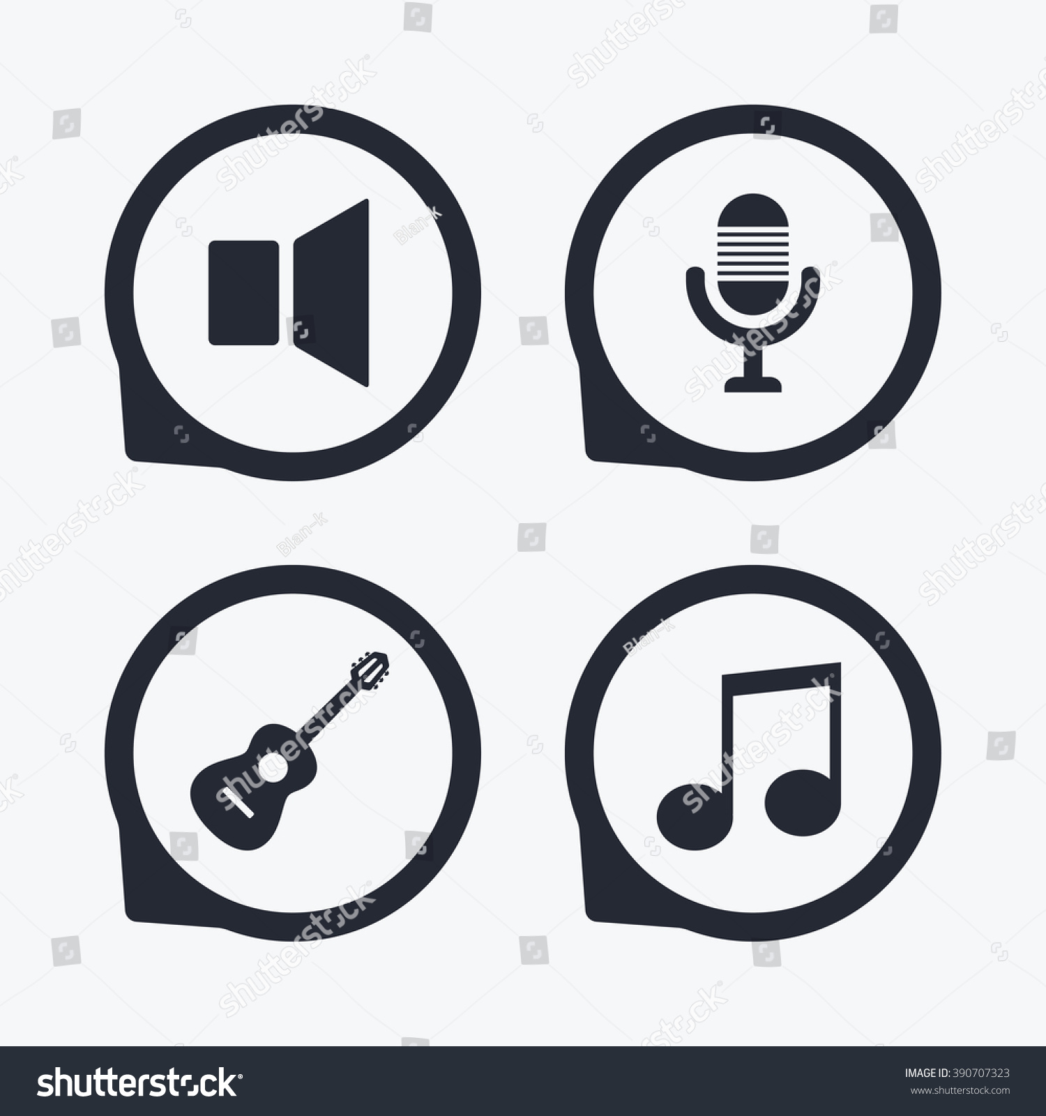 Musical elements icons microphone sound speaker stock illustration musical elements icons microphone and sound speaker symbols music note and acoustic guitar signs buycottarizona