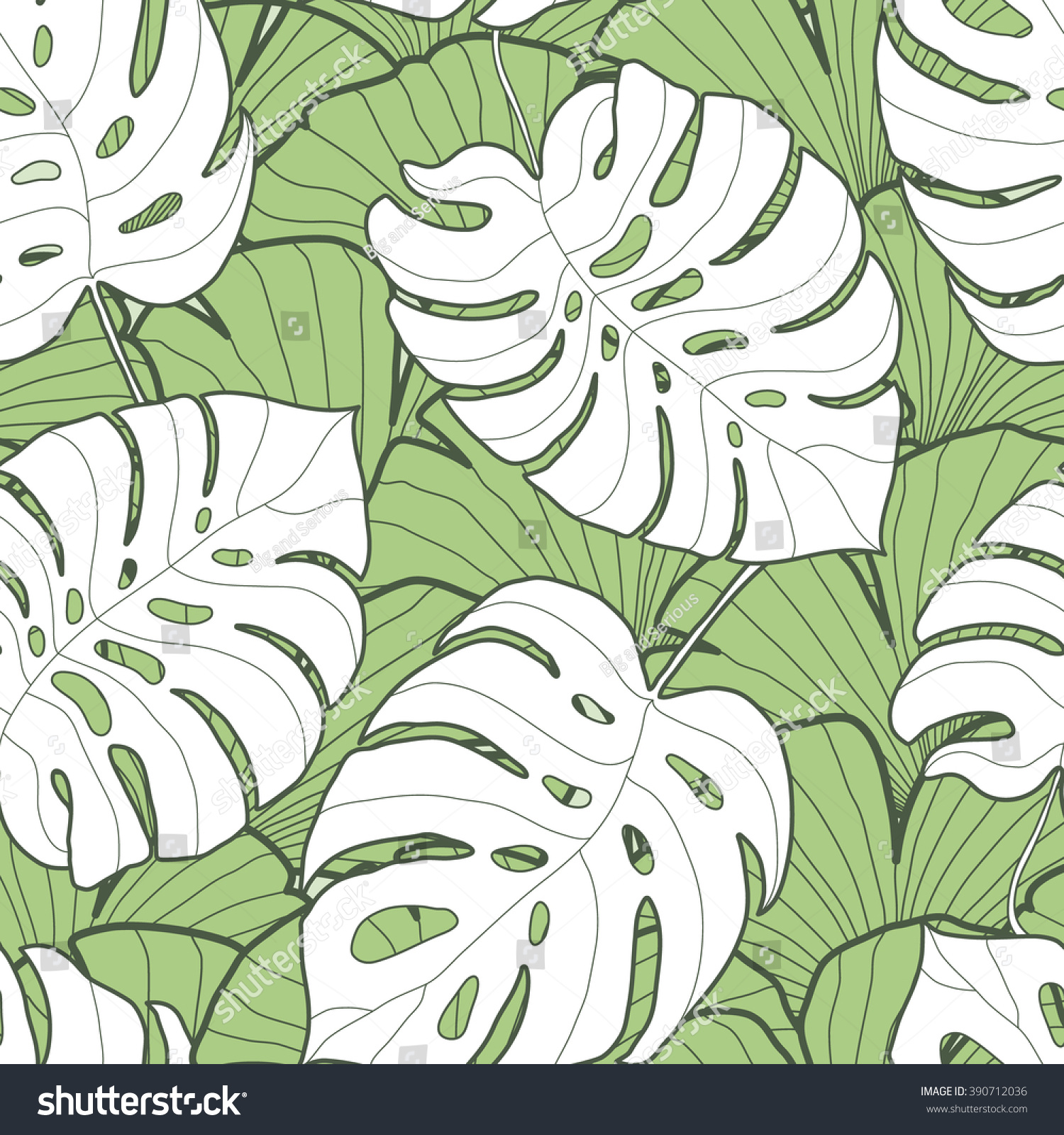 Fabric tree pattern - Black And White Monstera Leaf Seamless Pattern Palm Tree Background Textile Fabric