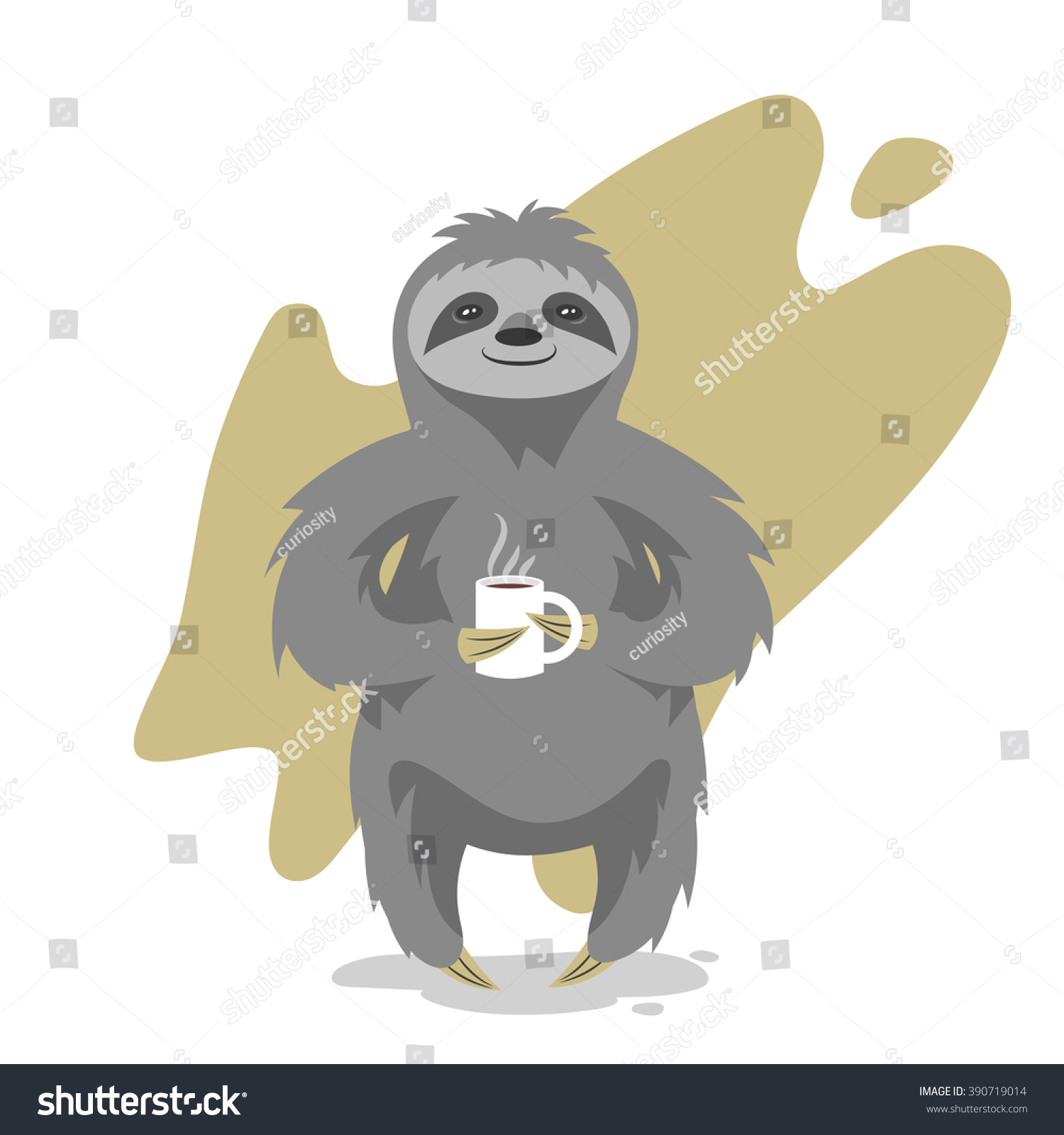 Larger preview vector clip art of a happy yellow coffee cup character - Vector Illustration Of Happy Cute Sloth With The Cup Of Tea Or Coffee Vector Print