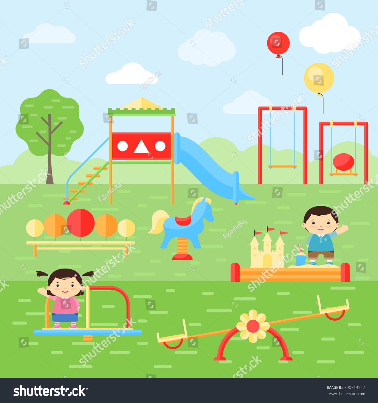 children playing playground kids playground playground stock vector