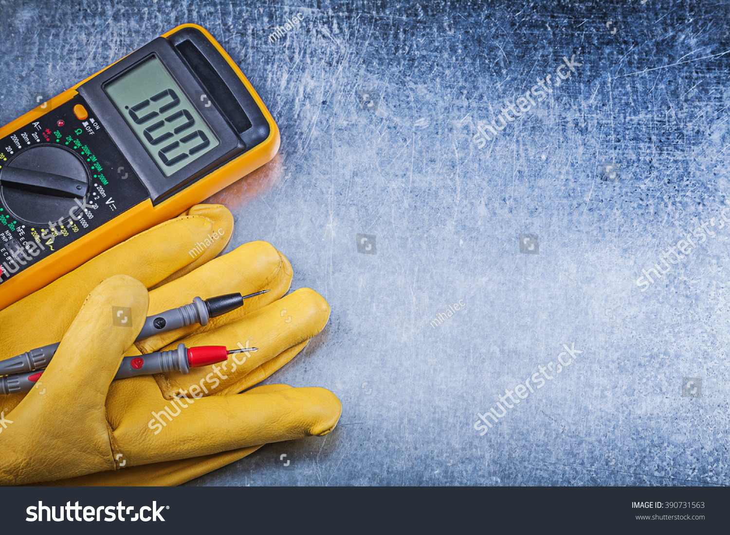 Electrical Glove Tester : Digital electric tester safety gloves on stock photo