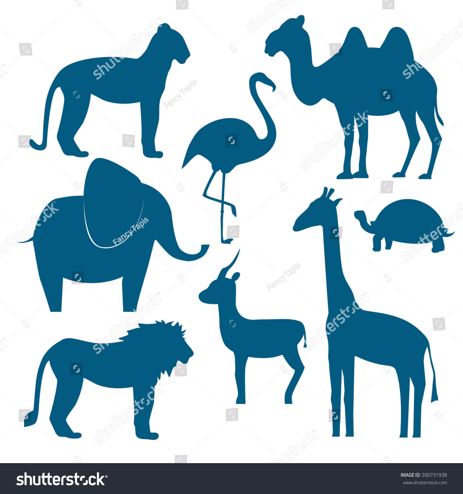 Vector Animals Set Including Giraffe Turtle Animals Wildlife