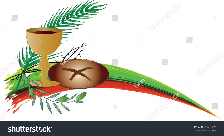 eucharist symbols bread wine symbols passion stock vector