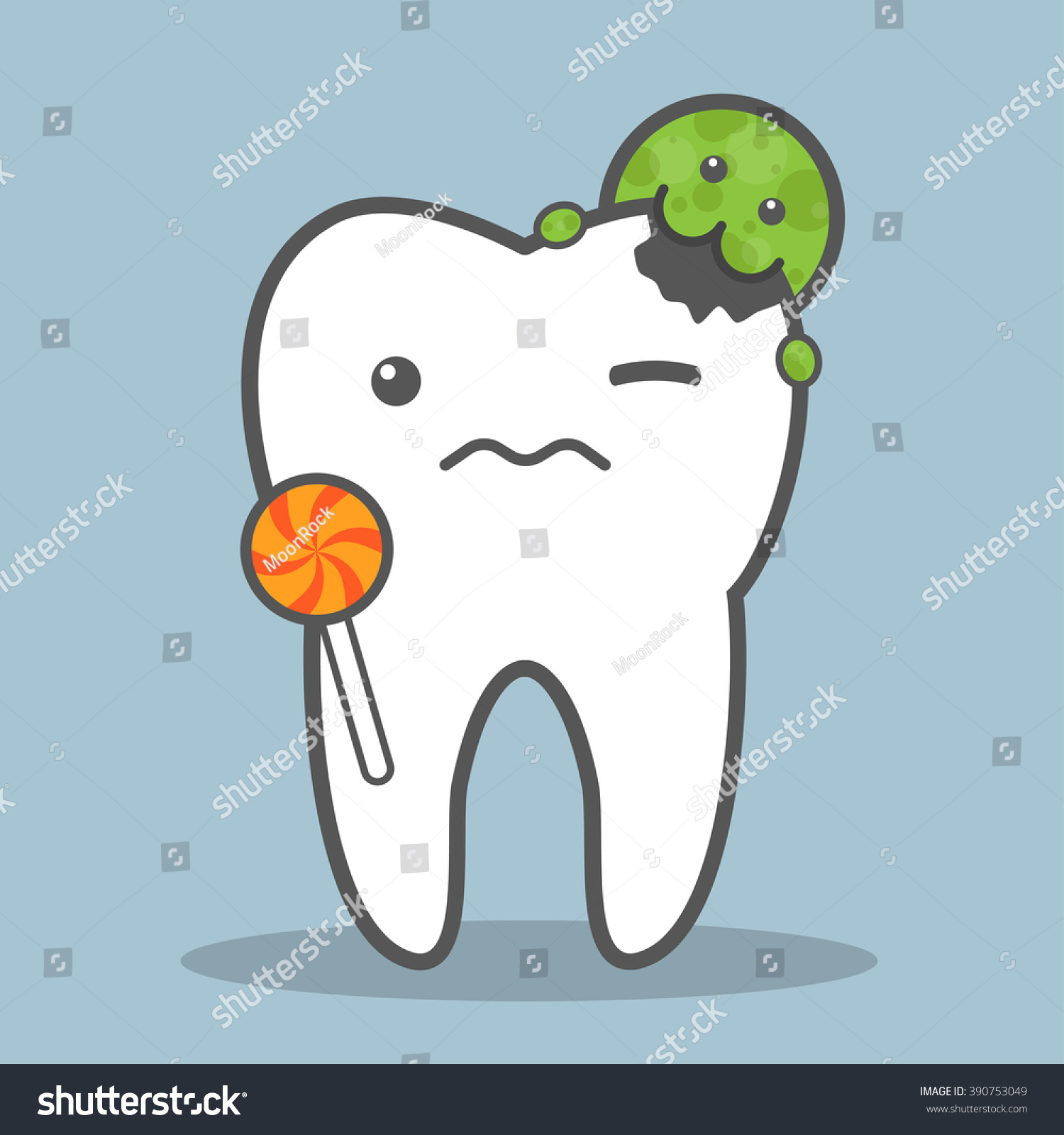 Tooth with lollipop attacked by bacteria Dental caries concept Vector illustration